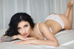 Beautiful girl in a sexy white lingerie